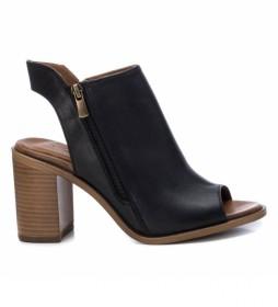 Sandalias de piel 067131 negro-Altura tacón 8cm-