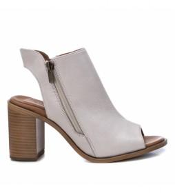 Sandalias de piel 067131 beige -Altura tacón 8cm-