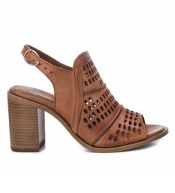 Sandalias de piel 067132 camel -Altura tacón: 8cm-