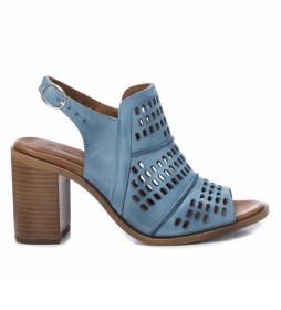 Sandalias de piel 067132 azul -Altura tacón: 8cm-