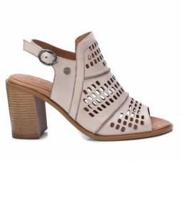Sandalias de piel 067132 beige -Altura tacón: 8cm-