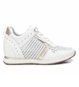 Zapatillas de piel 067740 blanco, oro