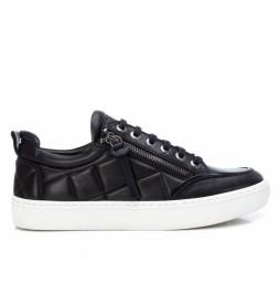 Zapatillas de piel 068060 negro