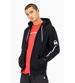 Sudadera Hooded Full Zip Logo Print negro