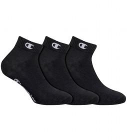 Pack de 3 pares de calcetines tobilleros One Color negro