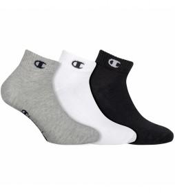 Pack de 3 pares de calcetines tobilleros One Color gris, negro, blanco