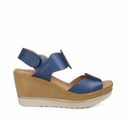 Sandalias de piel 372 marino -Altura de la cuña: 7cm-