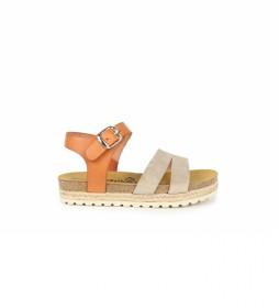 Sandalias de piel Aslei 04 beige, naranja