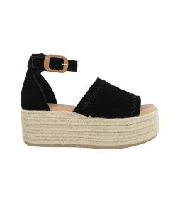 Sandalias de piel Bonna 05 negro -altura plataforma: 6cm-