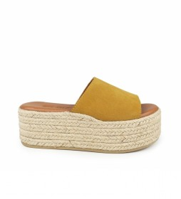 Sandalias de piel Bonna 08 mostaza -Altura de la cuña: 8cm-