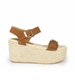 Sandalias de piel Bubalu 03 marrón -Altura cuña: 8cm-
