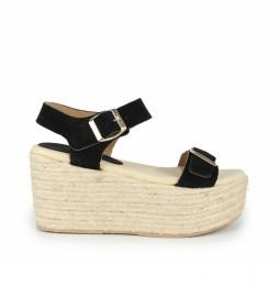 Sandalias de piel Bubalu 03 negro -Altura cuña: 8cm-