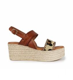 Sandalias de piel Floid 03 marron -Altura cuña: 7cm-