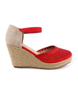 Sandalias Nadia 15 rojo -Altura cuña: 8cm-