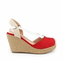 Sandalias Nadia 22 rojo-Altura cuña: 9 cm-