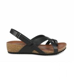 Sandalias de piel Orbita 03 negro -altura cuña: 4 cm-