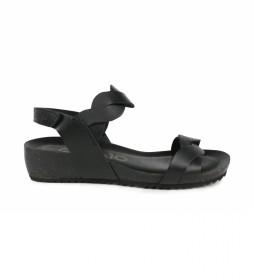 Sandalias de piel Orbita 04 negro -altura cuña: 7cm-