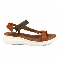 Sandalias de piel Rose 01 marrón, verde
