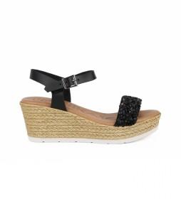 Sandalia de piel Leblon  04 negro -Altura cuña: 7cm-