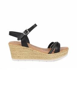Sandalia de piel Leblon 03 negro -Altura cuña: 7cm-