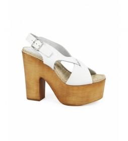 Sandalias de piel Rusia 02 blanco -Altura tacón: 14,5cm-