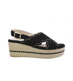 Sandalias Dona 10 negro -Altura cuña: 7cm-