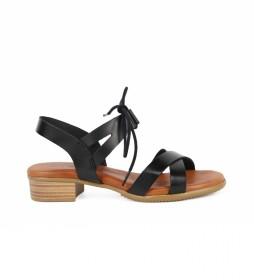 Sandalias de piel Tivolino 07 negro  -Altura tacón: 4cm-