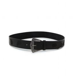 Cinturón de piel Paisley negro