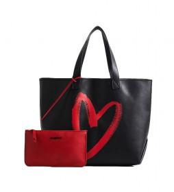 Bolso Amasenti Nambia Reversible negro, rojo -35,5x19x34,5cm-