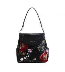 Mochila de mano Niagara Positano negro, floral -12,5x28,4cm-