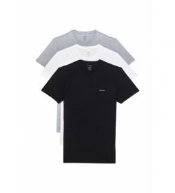 Pack de 3 Camisetas Jake  Logo negro, blanco, gris
