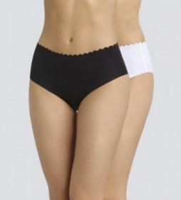 Pack de 2 bragas altas de mujer de algodón cortadas al láser e invisible negro, blanco
