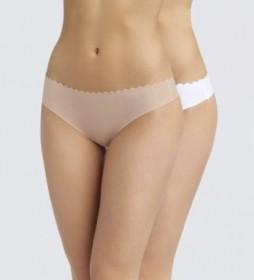 Pack de 2 tangas de mujer de algodón cortadas al láser e invisible nude, blanco