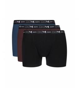 Pack de 3 bóxers  básico negro, marrón, azul
