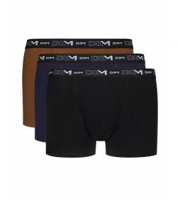 Pack de 3 bóxers  básico marrón-negro, azul, marrón