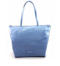 Bolso de piel azul -40 x 29 x 13 cm-