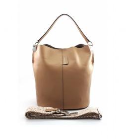 Bolso de piel beige AE110PAAR -26x28x16cm-