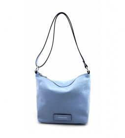 Bolso de piel azul -23 x 21 x 14 cm-