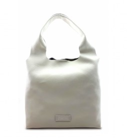 Bolso de piel blanco -36 x 34 x 7 cm-
