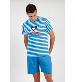 Pijama Manga Corta Mickey Pocket azul