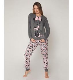 Pijama Bowtiful Minnie gris, rosa