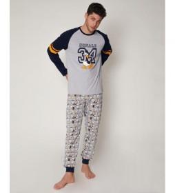 Pijama Donald 34 gris, azul