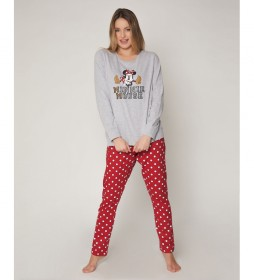 Pijama Minnie gris, rojo