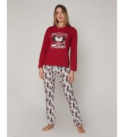 Pijama Love M&M burdeos, multicolor