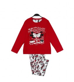 Pijama Love M&M burdeos, blanco