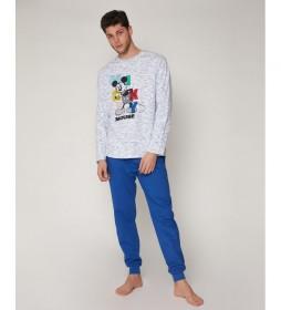 Pijama Mickey Colours azul, blanco