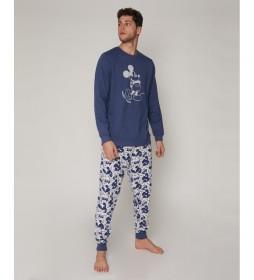 Pijama Mickey Jeans azul, gris