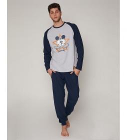 Pijama Mickey Jumping gris, azul