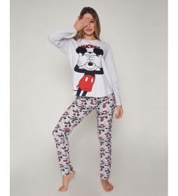 Pijama Mickey gris, multicolor