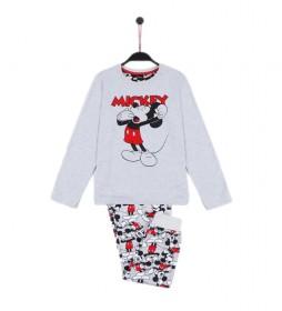Pijama Mickey gris jaspeado, multicolor